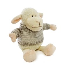 Farm Animal Soft Toys - Sheep Lambert with Jumper White Grey (25cmHT)