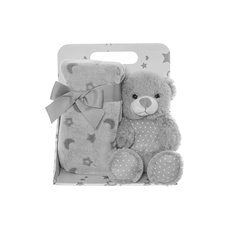 Baby Gift Sets - Harper Teddy Bear Gift Pack Grey (20cmST)