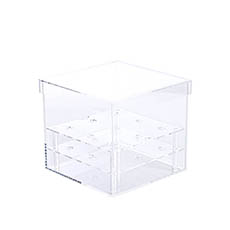 Rose Box Premium - Acrylic 9 Head Rose Display Box with Lid (16x15cm)