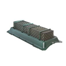 Cages, Casket Covers & Trays - Double Casket Saddle Tray Caged Floral Foam 58.5x25x11.5cmH