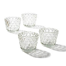 Diamond Pattern Glass Tealight Holder Clear (7.5x6cmH)