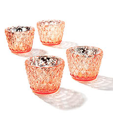 Tealight Candle Holders - Glass Votive Candle Holder Diamond Pattern Copper (7.5x6cmH)