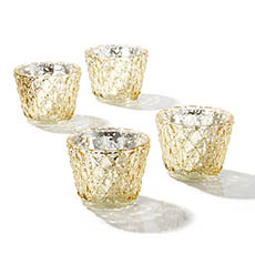 Tealight Candle Holders - Glass Votive Candle Holder Diamond Pattern Gold (7.5x6cmH)