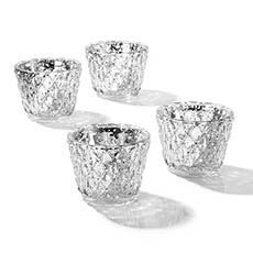 Diamond Pattern Glass Tealight Holder Silver (7.5x6cmH)