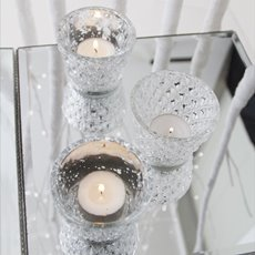 Glass Votive Candle Holder Diamond Pattern Silver (7.5x6cmH)