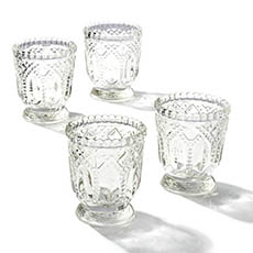 Tealight Candle Holders - Glass Votive Candle Holder Heirloom Clear (7.2x7.6cmH)