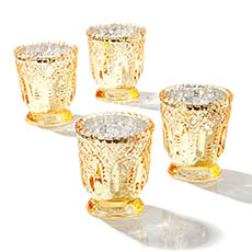 Candle Holders - Glass Votive Candle Holder Heirloom Gold (7.2x7.6cmH)