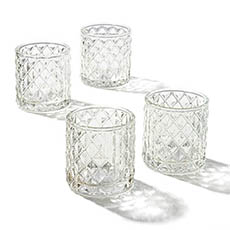 Diamond Pattern Glass Cylinder Candle Holder Clear 7x7.5cmH