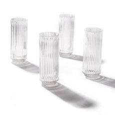 Tealight Candle Holders - Glass Craft Ripple Vase Candle Holder Clear (6x16cmH)