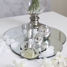 Round Mirror Candle Plate with Bevelled Edge(30cm - 12)