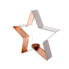 Metal Star with Glass Sleeve White Copper (32.5x7x30.5cmH)