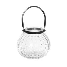 Lanterns & Hanging Candle Holders - Marc Glass Lantern with Chorme Handle Clear (15x13cmH)