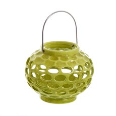 Round Ceramic Lantern Holder Lime (16.5x20cmH)