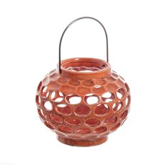 Round Ceramic Lantern Holder Orange (16.5x20cmH)