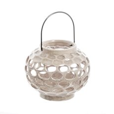 Round Ceramic Lantern Holder White (16.5x20cmH)