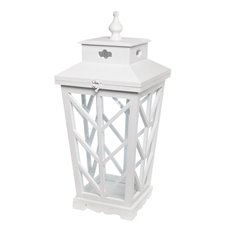 Lanterns & Hanging Candle Holders - Tapered Wooden Tudor Lantern White (25x25x53cmH)
