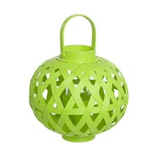 Bamboo Lantern with Glass Holder Lime (24x28cmH)