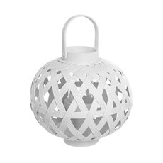 Bamboo Lantern with Glass Holder White (24x28cmH)