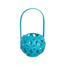 Tall Bamboo Lantern with Glass Holder Aqua (17x30cmH)
