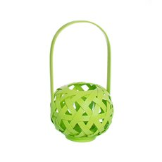 Tall Bamboo Lantern with Glass Holder Lime (17x30cmH)