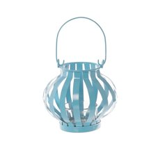 Novelty Tealight Lantern with Glass Holder Aqua (11x10cmH)