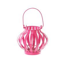 Novelty Tealight Lantern with Glass Holder Hot Pink 11x10cmH