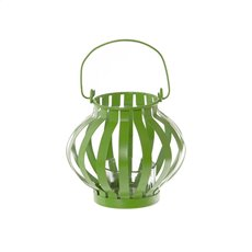 Novelty Tealight Lantern with Glass Holder Lime (11x10cmH)