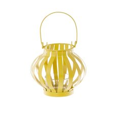 Novelty Tealight Lantern with Glass Holder Yellow (11x10cmH)