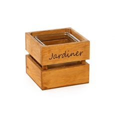 Wood Planter With Glass Holder 12x12x12cmH Natural