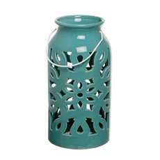 Lantern Ceramic Mozaic w/Handle Aqua Blue (17Dx32cmH)