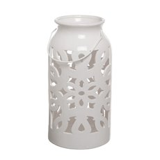 Lantern Ceramic Mozaic with Handle White (17x32cmH)