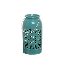 Lanterns & Hanging Candle Holders - Lantern Ceramic Mozaic w/Handle Aqua Blue (12.5Dx23.5cmH)