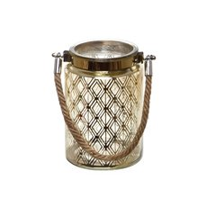 Mercury Glass Lantern with Rope Handle Gold (10cmDx15cmH)