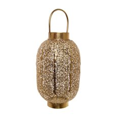 Lanterns & Hanging Candle Holders - Darien Filigree Cylinder Lantern Gold (20cmDx37cmH)