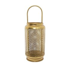 Lanterns & Hanging Candle Holders - Metal Honeycomb Lantern Gold (18x18x50cmH)