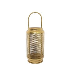 Lanterns & Hanging Candle Holders - Metal Honeycomb Lantern Gold (15x15x41.5cmH)
