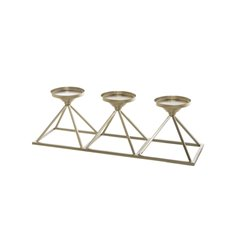 Metal Candle Holder Pyramid  Gold (49x16x15cmH)