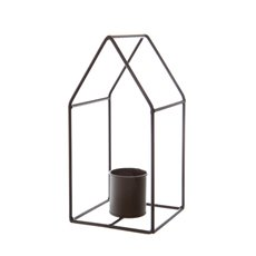 Candle Holders - Metal Candle Holder Woodland House Black (13x13x27cmH)