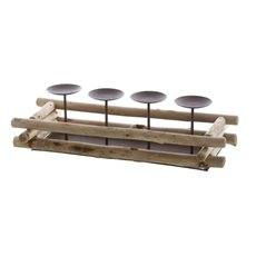 Candle Holders - Metal Candle Holder Rectangle Tray Natural Wood 17x39x10cmH