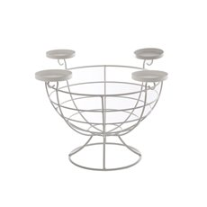 Candle Holder Metal Bowl White 32x26cmH