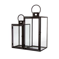 Lanterns & Hanging Candle Holders - Metal Lantern Black Set of 2 (22x21x54cmH)