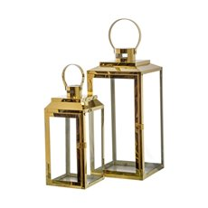 Lanterns & Hanging Candle Holders - Modern Stainless Steel Lantern Set of 2 Gold (19x18x40cmH)