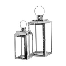 Lanterns & Hanging Candle Holders - Modern Stainless Steel Lantern Set of 2 Silver (19x18x40cmH)