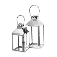 Lanterns & Hanging Candle Holders - Classic Stainless Steel Lantern Set of 2 Silver(18x18x40cmH)