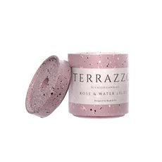 Scented Candle Jars & Containers - Scented Candle Terrazzo Large Rose & Water Lilies (9x11cmH)
