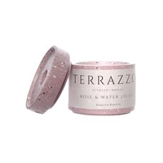 Scented Candle Jars & Containers - Scented Candle Terrazzo Rose & Water Lilies (9x8.5cmH)