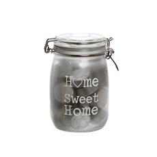 Glass Jar Home Sweet Home 30 Tealights Grey 12x17.5cmH