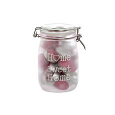 Glass Jar Home Sweet Home 30 Tealights Pink 12x17.5cmH