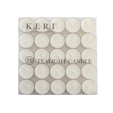 Tealight Candles - Tealight Candle 9Hr Clear Base 25 Pack White