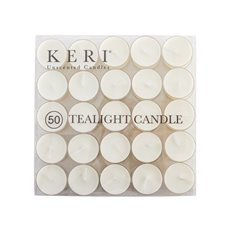 Tealight Candles - Tealight Candle 4Hr Clear Base 50 Pack White